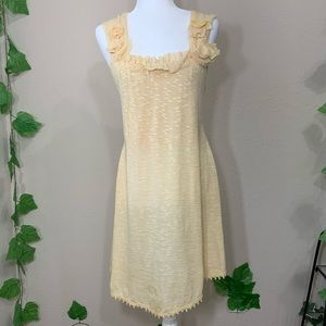 Anthropologie A'reve Cream Romantic Cream Dress